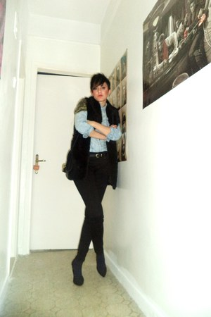 black Bershka vest - aquamarine Stradivarius shirt - black Bershka pants