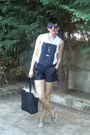 Black-h-m-shorts-ivory-zara-blouse-blue-rey-ban-glasses