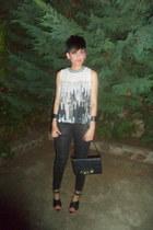 white Bershka blouse - black Zara heels - black Bershka pants