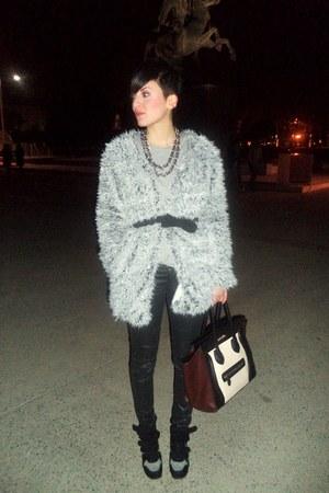 white pull&bear coat - brown Celine bag - black Bershka pants