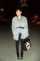 white pull&bear coat - brown Celine bag - black Bershka pants