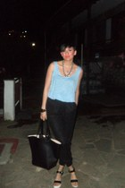 black H M bag - black H M pants - ivory pull&bear heels - light blue H M blouse