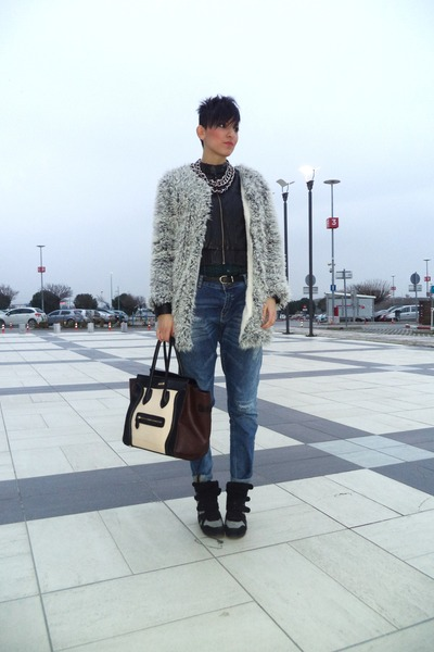 silver H M coat - blue Bershka jeans - black Combo loafers