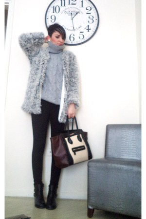silver H M coat - brown Celine bag - black Zara pants