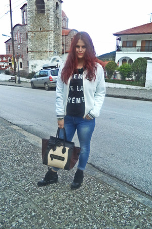 dark brown Celine bag - blue H M jeans - ivory H M jacket - black Celine t-shirt