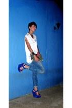 blue heels exe heels - sky blue boyfriend jeans G-Star jeans