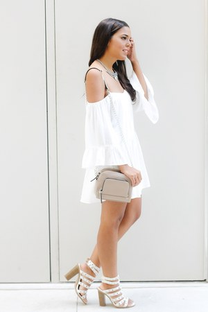 white Zara romper - tan Forever 21 bag