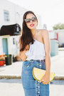 Yellow-clutch-asos-bag-sky-blue-denim-forever-21-skirt
