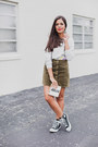 Silver-patched-forever-21-sweater-olive-green-corduroy-agaci-skirt