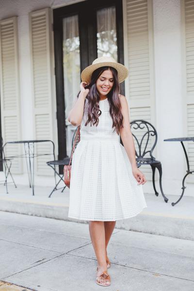 white Maggy London dress - brown tassel asos sandals
