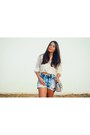 Silver-embellished-shoedazzle-bag-navy-high-waisted-bullhead-shorts