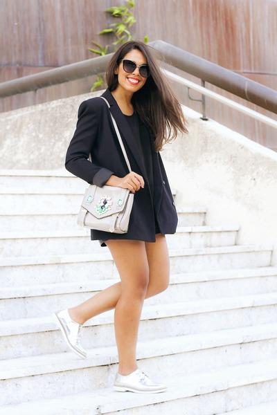 navy Zara jacket - black Zara top - silver Forever 21 loafers