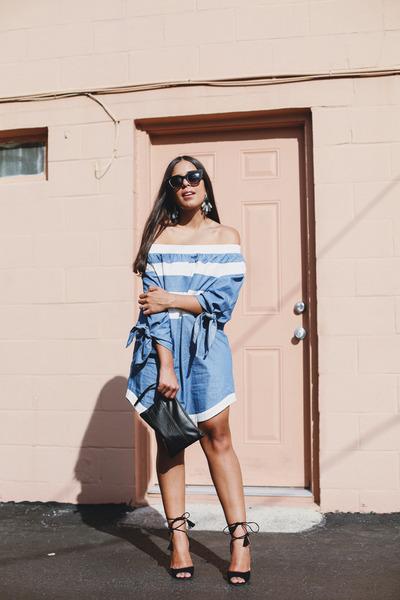 sky blue off shoulder Agaci dress - black H&M bag - black lace up Agaci heels