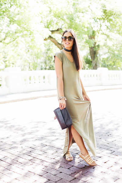 olive green maxi Forever 21 dress - beige strappy Forever 21 sandals