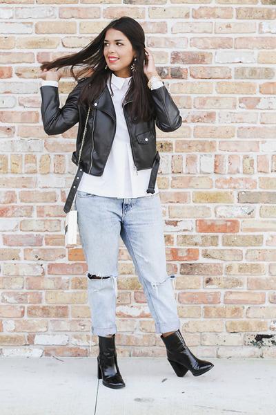 black patent leather Forever 21 boots - light blue boyfriend Zara jeans