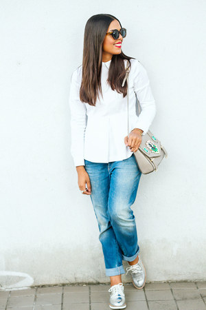 heather gray Shoedazzle bag - white collared Zara shirt