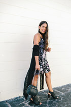 black velvet Agaci dress - black ankle Agaci boots - black Agaci cardigan