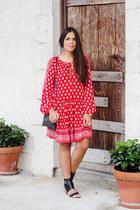 ruby red Zara dress - black Shoedazzle heels