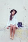 Nude-ankle-pacsun-boots-navy-zara-bag-ivory-zara-blouse