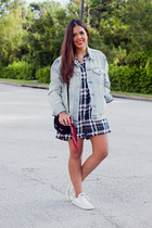 light blue denim Gap jacket - black asos bag - navy plaid Zara romper