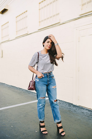navy mom jeans Zara jeans - crimson Zara bag - silver velvet Zara top