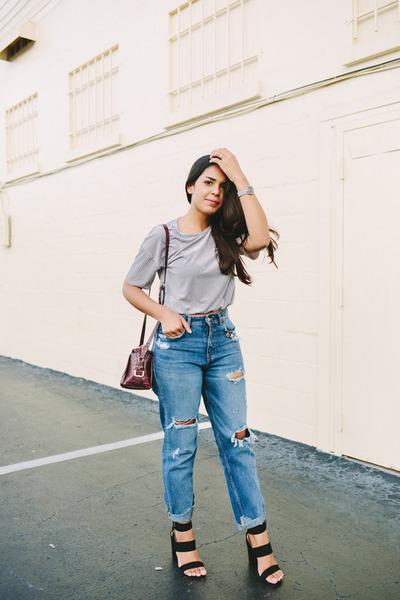 navy mom jeans Zara jeans - crimson Zara bag - silver velvet Zara top