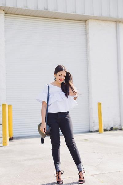 black skinny Zara jeans - black Agaci heels - light blue one shoulder Zara top