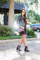 black faux leather Zara jacket - black lace-up Forever 21 dress