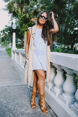 light blue Zara dress - brown lace up asos shoes - beige Zara vest