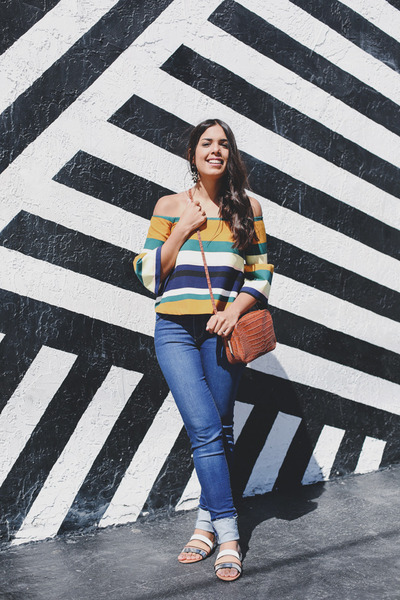 light orange off shoulder Zara top - navy skinny Zara jeans - tan Zara bag