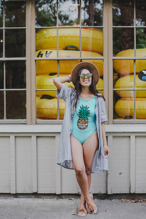 aquamarine pineapple print swimwear - sky blue striped dress Zara dress
