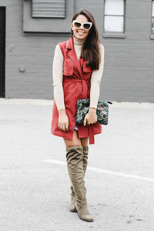 brick red long asos vest - olive green over the knee Shoedazzle boots