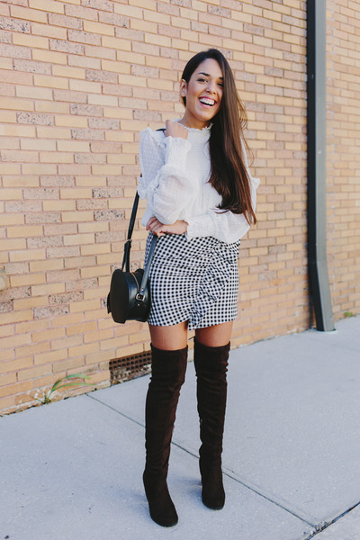 navy Zara skirt - dark brown Shoedazzle boots - off white Zara blouse