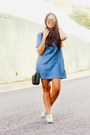 Silver-loafers-forever-21-shoes-navy-denim-forever-21-dress