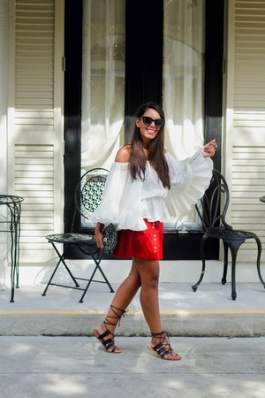 white Boohoo top - brick red Zara skirt - black gladiator Forever 21 flats