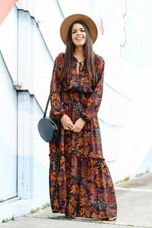 burnt orange floral H&M dress - tan Forever 21 hat - black Zara purse
