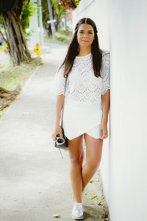 white eyelet Zara top - white skort Zara shorts