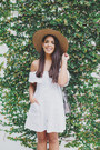 White-off-shoulder-forever-21-dress-brown-straw-forever-21-hat