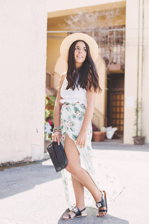 light blue floral maxi Forever 21 skirt - beige boater Forever 21 hat