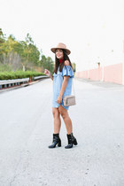 black patent leather Forever 21 boots - light blue Forever 21 dress