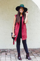 brick red long Parisian vest - dark green wide brim asos hat