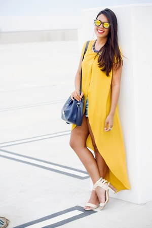 mustard Zara top - navy Zara bag