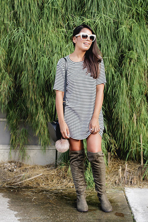 army green over the knee Shoedazzle boots - beige striped brandy melville dress