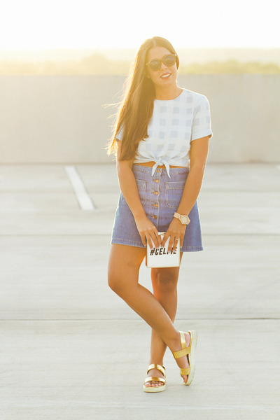 sky blue asos top - navy Zara skirt - gold Bakers sandals