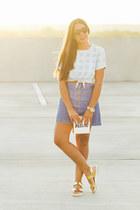 sky blue asos top - navy Zara skirt - gold Bakers sandals