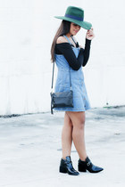 black Forever 21 boots - light blue denim jumper Bullhead dress