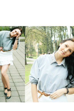light blue DIY spike collar shirt - black Steve Madden flats - white skirt - bro