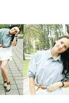 light blue DIY spike collar shirt - black Steve Madden flats - white skirt - bro