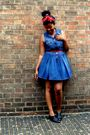 Red-scarf-red-belt-black-warehouse-shoes-blue-miss-selfridge-dress