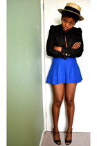 glitter River Island blazer - American Apparel skirt - peeptoe Guess heels